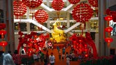 semt : KUALA LUMPUR. MALAYSIA  CIRCA FEB 2015: Interior of Pavilion Kuala Lumpur. a popular shopping destination in the commercial district of Malaysias capital city. decorated for the Chinese New Year.
