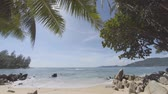 pokukování : Bright sunshine peeks between the fronds of a palm as gentle waves wash boulders on this tropical beach paradise in Thailand. UltraHD ungraded raw flat 4k video