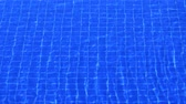 сетка : Surface of a pool with ripples and waves from a gentle breeze. distorting the grid of blue tiles on the bottom. Ultra HD 4k video