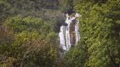 inthanon : Long range view of the picturesque Siribhume Waterfall. as seen through the tropical vegetation of a Thailand jungle wilderness. Stock Footage