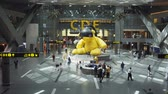 miś : STATE OF QATAR - MAY 2018: Interior of Hamad International Airport in Doha. Qatar. Shot with panning