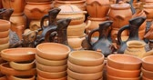 KUTAISI. GEORGIA - OCT 2018: Ceramics on the Georgian market Stock mozgókép