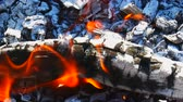 vibrance : Burning firewood with red coil and with tongue of flames in sunny day, horizontal macro panorama