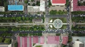horas : Summer 2018 aerial drone footage of rooftops and streets in the center of Krasnodar city, Russia. Top down view of traffic jam. Stock Footage