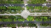 tops : Summer 2018 aerial drone footage of rooftops and streets in the center of Krasnodar city, Russia. Top down view of traffic jam. Stock Footage