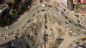 jam : Aerial drone footage of the street in the center of Krasnodar city, Russia. Drone view of repair the road ring. Stock Footage