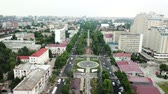 road top view : Russia, Krasnodar July 06 2018 City buildings, parkland, overhead aerial view from drone.