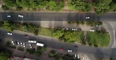 автомагистраль : Aerial Drone Flight View footage of freeway city traffic jam. Top down view from drone.