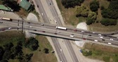 jam : Top down aerial view of transportation highway overpass, ringway, roundabout