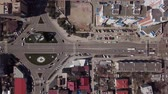 Round road junction in the center of Krasnodar, Russia. Day active city traffic cars. Stok Video