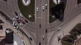 nowoczesny budynek : Aerial view, top down view of traffic jam on a city road