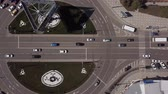 nowoczesny budynek : Aerial road intersection, top view cars on road
