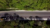 Aerial view from the Drone to the Road in a Pine Forest. Country road in wood. Stok Video