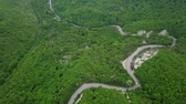 Top view. Aerial view from drone. Road in mountain forest is beautiful with many tree, road on pass very winding Vidéos Libres De Droits