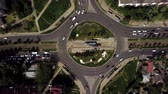 street view : Overhead drone shot of busy roundabout
