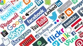 digital : Social media platforms with their logos on white background Stock Footage