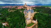 Aerial view of Alc?zar of Segovia or Segovia Fortress in Spain.