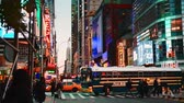 praça : NEW YORK CITY, USA - OCT 30, 2018: Busy 42nd street view in Midtown Manhattan with pedestrian and traffic.