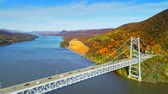 뉴욕 : Aerial view of Hudson River and Bear Mountain Bridge in New York State in Autumn with colorful foliage.