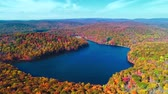 Aerial view of lake in Autumn with colorful foliage 무비클립