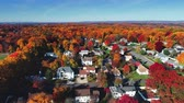 Aerial view of residential area in Autumn with colorful foliage 무비클립