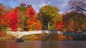 New York City Central Park in Autumn with Bow Bridge and lake