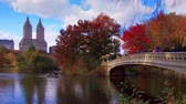 Центральная Америка : New York City Central Park in Autumn with skyscrapers apartment boat and lake
