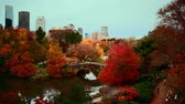 вперед : Central Park at dusk timelapse in Autumn with foliage in Midtown Manhattan New York City