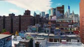 китайский квартал : NEW YORK CITY, USA - OCT 30, 2018: Manhattan downtown Chinatown viewed from above with historical buildings