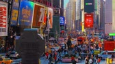 ビルボード : New York City - Sept 28, 2018: Times square timelapse with crowded traffic billboard and people. New York City is the most populous city in the United States.