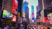 praça : New York City - Sept 28, 2018: Times square timelapse with crowded traffic billboard and people. New York City is the most populous city in the United States.