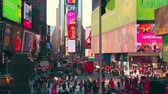 vezes : New York City - Sept 28, 2018: Times square with crowded traffic billboard and people. New York City is the most populous city in the United States. Stock Footage