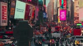 plakátovací tabule : New York City - Sept 28, 2018: Times square with crowded traffic billboard and people. New York City is the most populous city in the United States. Dostupné videozáznamy