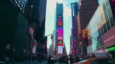 nyc skyline : New York City - Sept 28, 2018: Times square with crowded traffic billboard and people. New York City is the most populous city in the United States. Stock Footage
