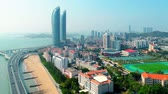 viagens de negócios : Xiamen, China - Mar 28, 2018: City aerial view with Shimao tween tower. Xiamen was ranked as Chinas 2nd-most suitable city for living due to its low pollution. Stock Footage