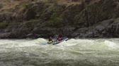 snake river canyon : Rafting on the Snake River rapids in the Hells Canyon the deepest canyon in The States Stock Footage