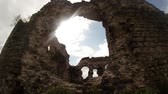 knight : rays of the sun through the ruins   castle of the knights of Templar the oldest in Transcarpathia Stock Footage