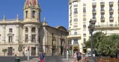 europe : VALENCIA, SPAIN - JULY 21, 2016: People Walking Downtown Valencia City In Spain.