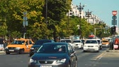 piata : BUCHAREST, ROMANIA - MAY 19, 2015: Rush Hour Traffic In Union Square (Piata Unirii) one of the busiest and largest traffic intersections in downtown Bucharest city. Stock Footage