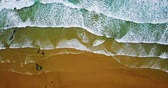 Aerial View Footage From Flying Drone Of Ocean Waves Crushing On Beach