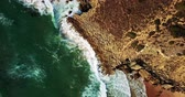 Aerial Footage From Flying Drone Of Ocean Waves Crushing On Rocky Beach Landscape Stock Footage