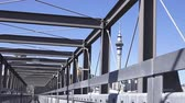 skytower : :Sky Tower from Gantry structure in Wynyard Quarter.Its 328m1,076 ft tall to the top of the mast, making it the tallest free-standing structure in the Southern Hemisphere. Stock Footage