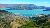 christchurch : Aerial landscape view of Lyttelton inner harbour and township near Christchurch, New Zealand.
