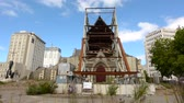 christchurch : ChristChurch Cathedral.The February 2011 Christchurch earthquake destroyed the spire and part of the tower, and severely damaged the structure of the remaining building. Stock Footage