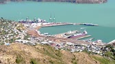 christchurch : Aerial view of Lyttelton Port of Christchurch. Its the primary port for energy shipments in the South Island of Coal, wood logs, LP gas and petrol