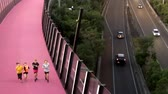 new urbanism : Bright pink cycleway at night in Auckland New Zealand.The cycleway inner city cycling and pedestrians network is New Zealands biggest urban cycling infrastructure ever built.