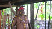 абориген : Yirrganydji Aboriginal man speek in Queensland, Australia. Стоковые видеозаписи