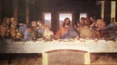 simbolismo : Replica of The Last Supper by Leonardo da Vinci. It is one of the worlds most famous paintings. Stock Footage