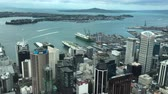 skytower : Aerial view of Auckland downtown and Waitemata Harbour in Auckland, New Zealand