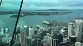 skytower : Panning Aerial view of Auckland downtown and Waitemata Harbour in Auckland, New Zealand Stock Footage